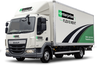 Picture of a box truck with Enterprise Flex-E-Rent branding