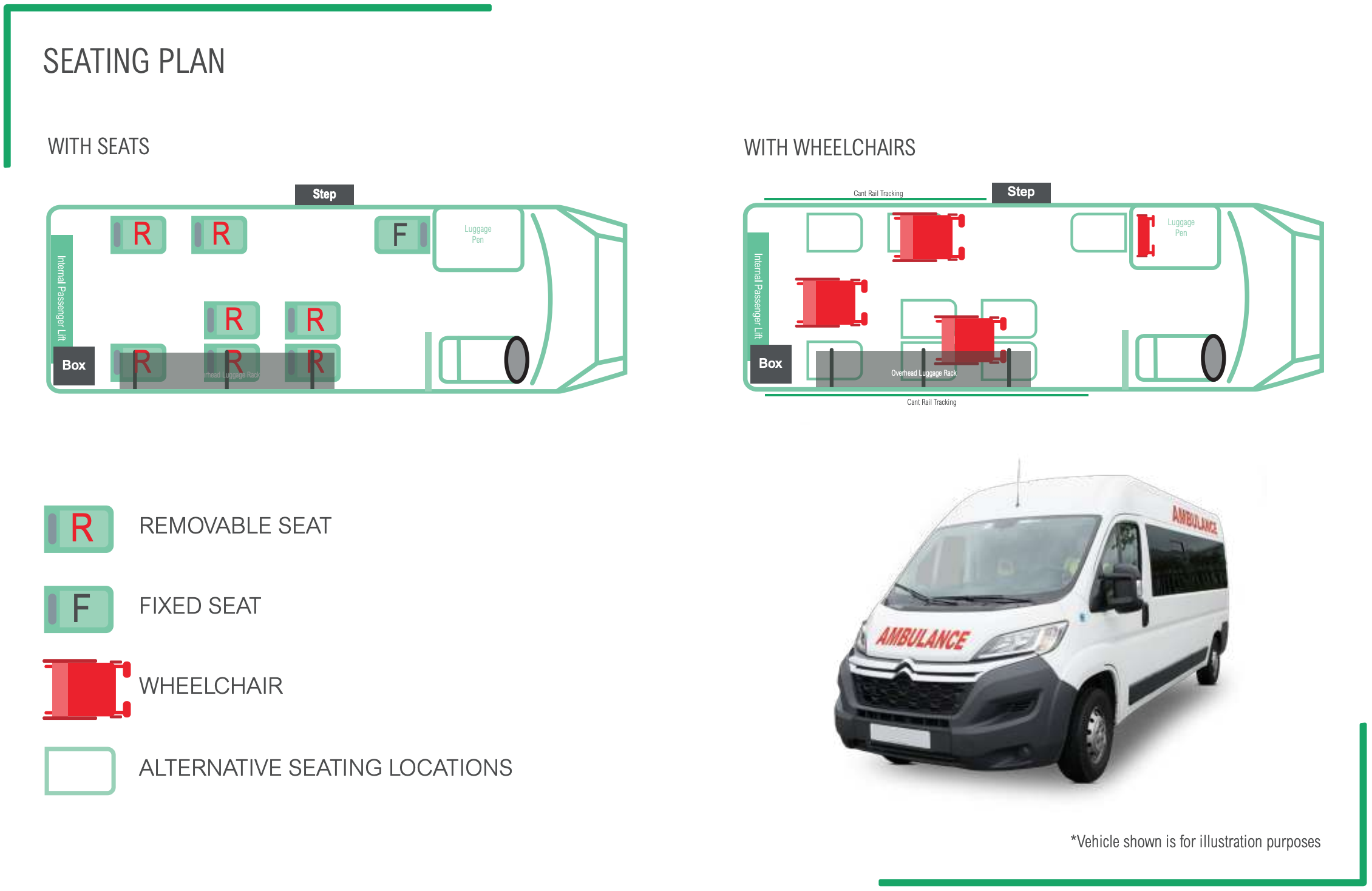 PTS 9 Seat Accessible Minibus Seating plan