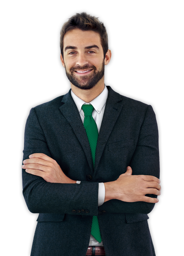 Picture of a man in a suit smiling with his arms crossed